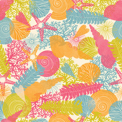 Cute sea. Seamless pattern.