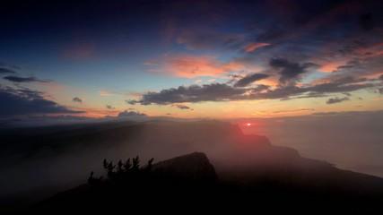 Timelapse sunrise in the mountains Ai-Petri.