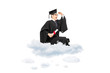 Male college graduate seated on cloud and looking in distance