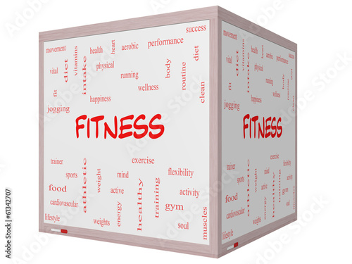 Fitness Word Cloud Concept on a 3D cube Whiteboard