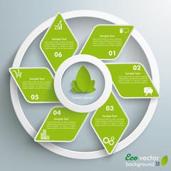 Eco Rhombus Green Fan White Rings