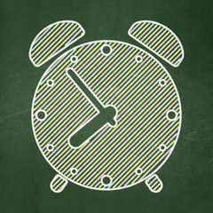 Timeline concept: Alarm Clock on chalkboard background