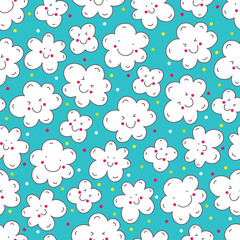 Seamless vector pattern with lovely clouds.