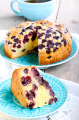 Slice of sponge cherry cake