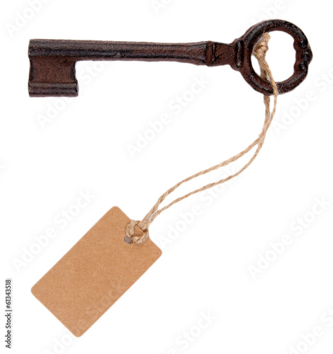 Key with empty tag, isolated on white