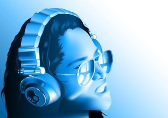 DJ Girl With Headphones