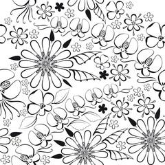 vector illustration of black floral pattern