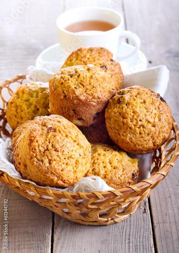 Pumpkin, pineapple and raisin muffins