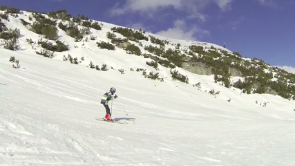 Boy riding rippled piste
