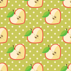 Heart of apples and polka dot in seamless pattern