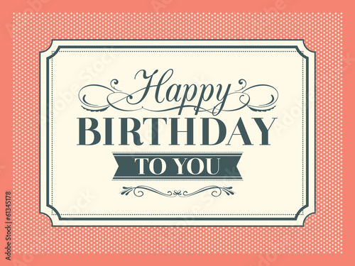 Vintage Birthday card frame design template