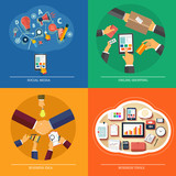 Icons for web design, seo, social media, online shopping