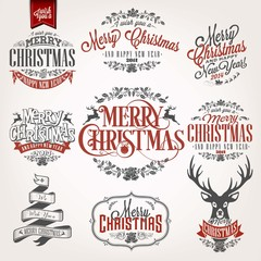 Christmas Retro Icons, Elements And Illustrations Set