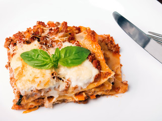 Tasty lasagna on white plate