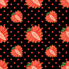 Heart of strawberry berries and polka dot in seamless pattern