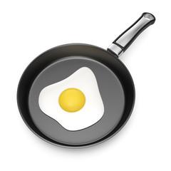fried egg in pan