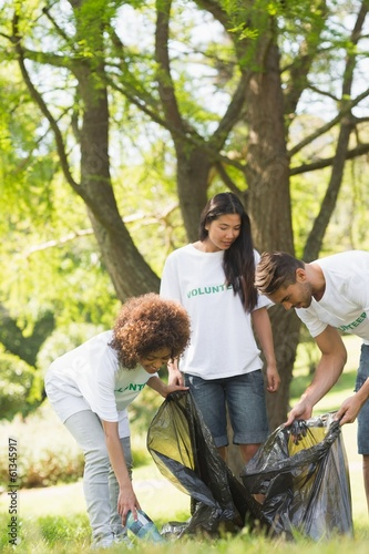 Team of volunteers picking up litter in park