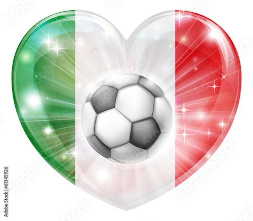 Italy flag soccer heart flag