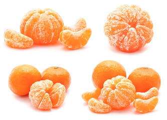 Collection of tangerines mandarines isolated on a white