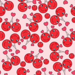 Seamless pattern with cute cherries in love