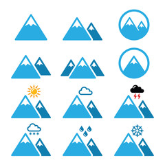 Mountain winter vector icons set