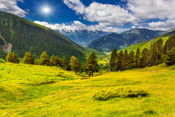 Colorful summer landscape in the Caucasus mountains.