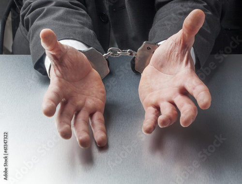 company punishment with handcuffs symbol