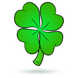 Lucky Four Leaf Clover Icon Isolated on White.