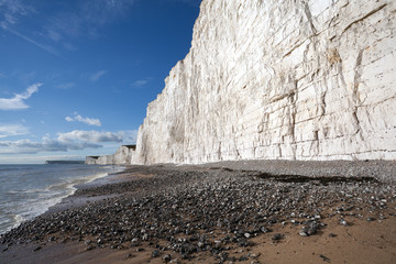 Seven Sisters chalk cliffs at Birling Gap shingle beach