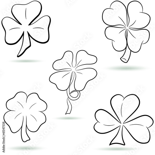 Four leaf clover, shamrock outline set. Vector