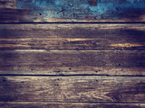 Fototapety Old Wood Background - Vintage with blue and yellow colors.