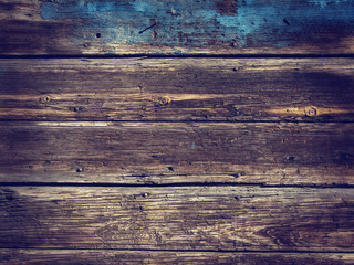 Old Wood Background - Vintage with blue and yellow colors.