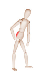 Joint pain at wooden mannequin isolated on white