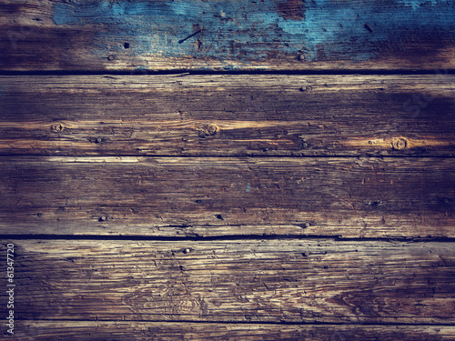 Tuinposter Hout Old Wood Background - Vintage with blue and yellow colors.