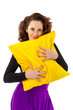 woman with cushions on a white background