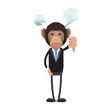 Unhappy business monkey with his thumb down