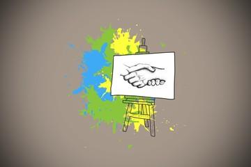 Composite image of handshake presentation on paint splashes