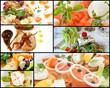 Collage of beautifully presented gourmet food