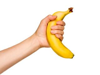 gelbe Banane vor weißem Hintergrund