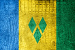 Saint Vincent and The Grenadines Flag on crocodile texture