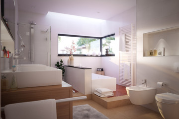 Modernes, schönes Badezimmer - modern bathroom with spa area