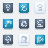 Ecology web icon set 1, square buttons