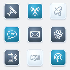 Communication web icon set, square buttons