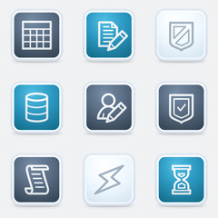Database web icon set, square buttons