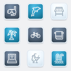 Vacation web icon set, square buttons