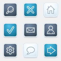 Basic web icon set, square buttons