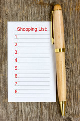 Pen and shopping list