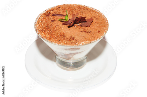 Tiramisu, sponge cake with cream and chocolate, dessert in glass