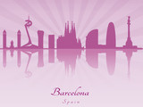 Barcelona skyline in purple radiant orchid
