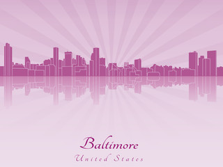Baltimore skyline in purple radiant orchid